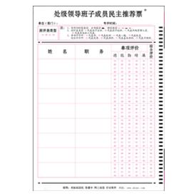 处级领导班子成员民主推荐票